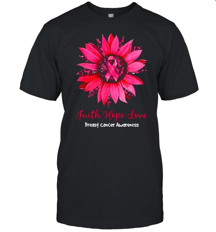 Faith Hope Love Breast Cancer Awareness Leopard Sunflower T- Classic Men's T-shirt