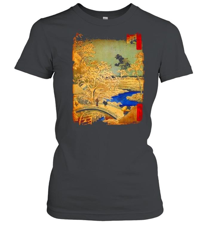 Godzilla and Meguro Drum Bridge  Classic Women's T-shirt