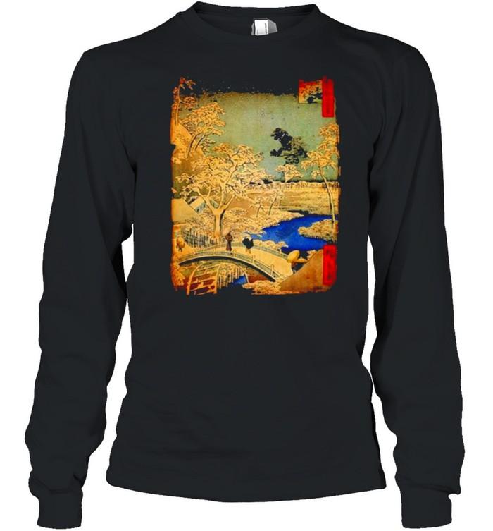 Godzilla and Meguro Drum Bridge  Long Sleeved T-shirt