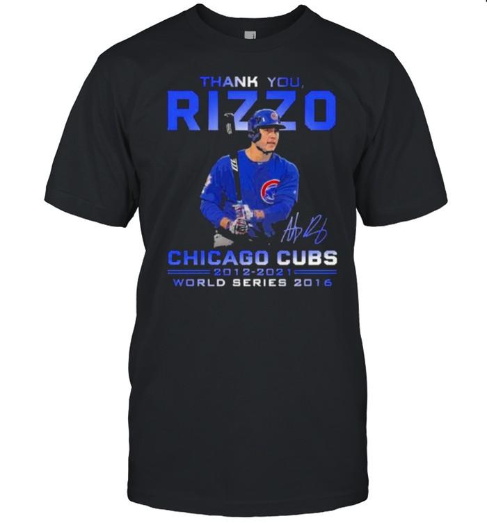 Thank you rizzu chicago cubs 2012 2021 thank you for the memories signatue shirt Classic Men's T-shirt