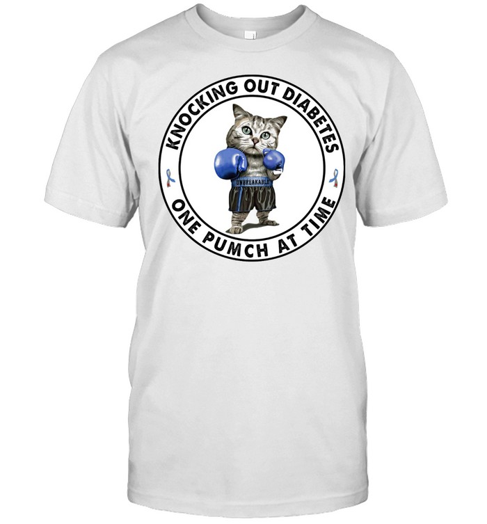 Cat knocking out diabetes one punch at time shirt Classic Men's T-shirt