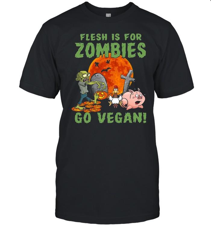Flesh Is For Zombies Go Vegan Halloween T-shirt Classic Men's T-shirt