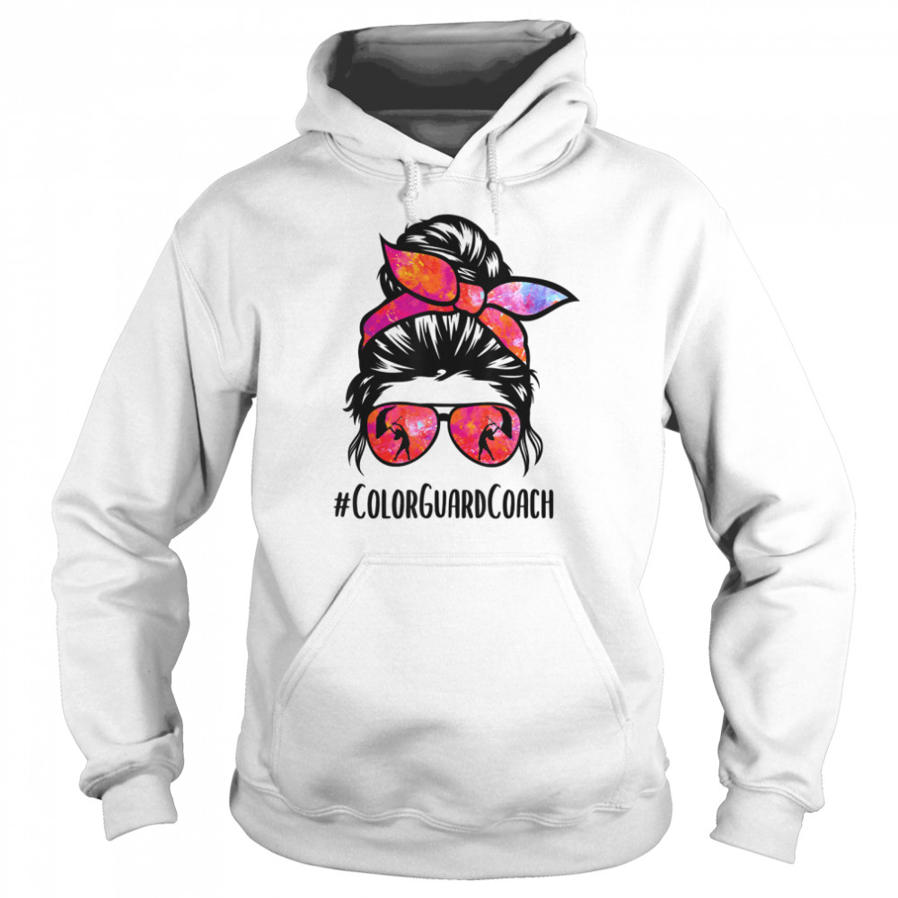 Color Guard Coach messy bun Marching Band School instructor shirt Unisex Hoodie