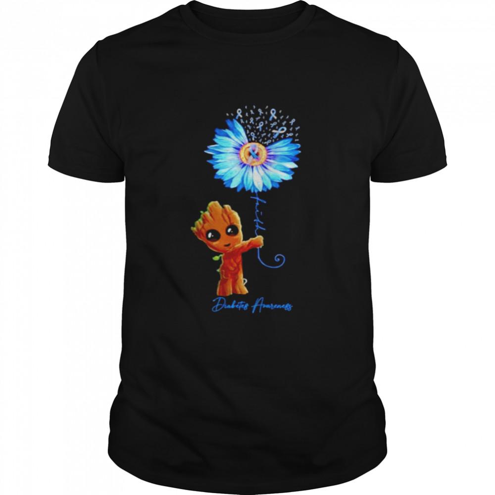 Baby Groot Sunflower faith diabetes awareness shirt