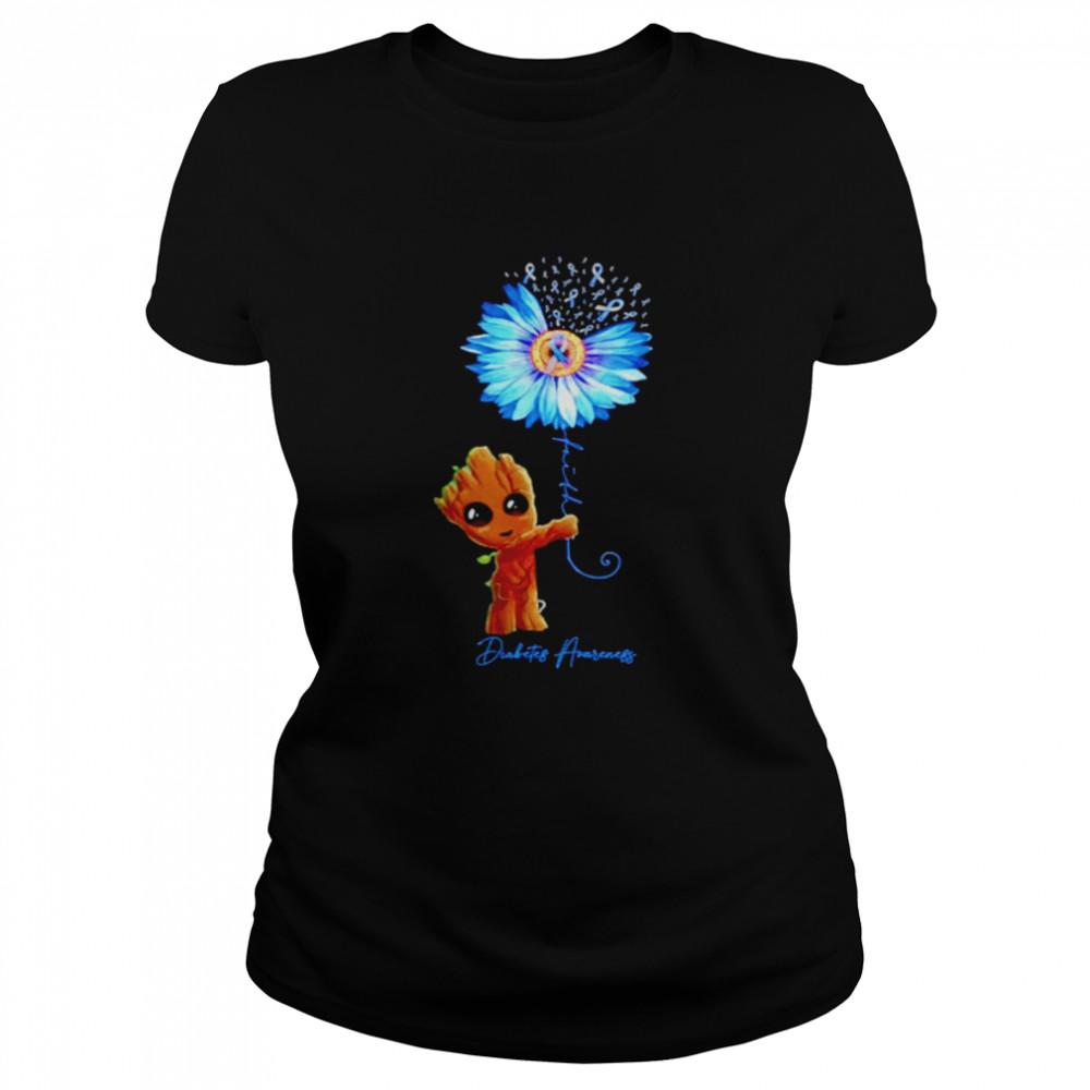 Baby Groot Sunflower faith diabetes awareness shirt Classic Women's T-shirt
