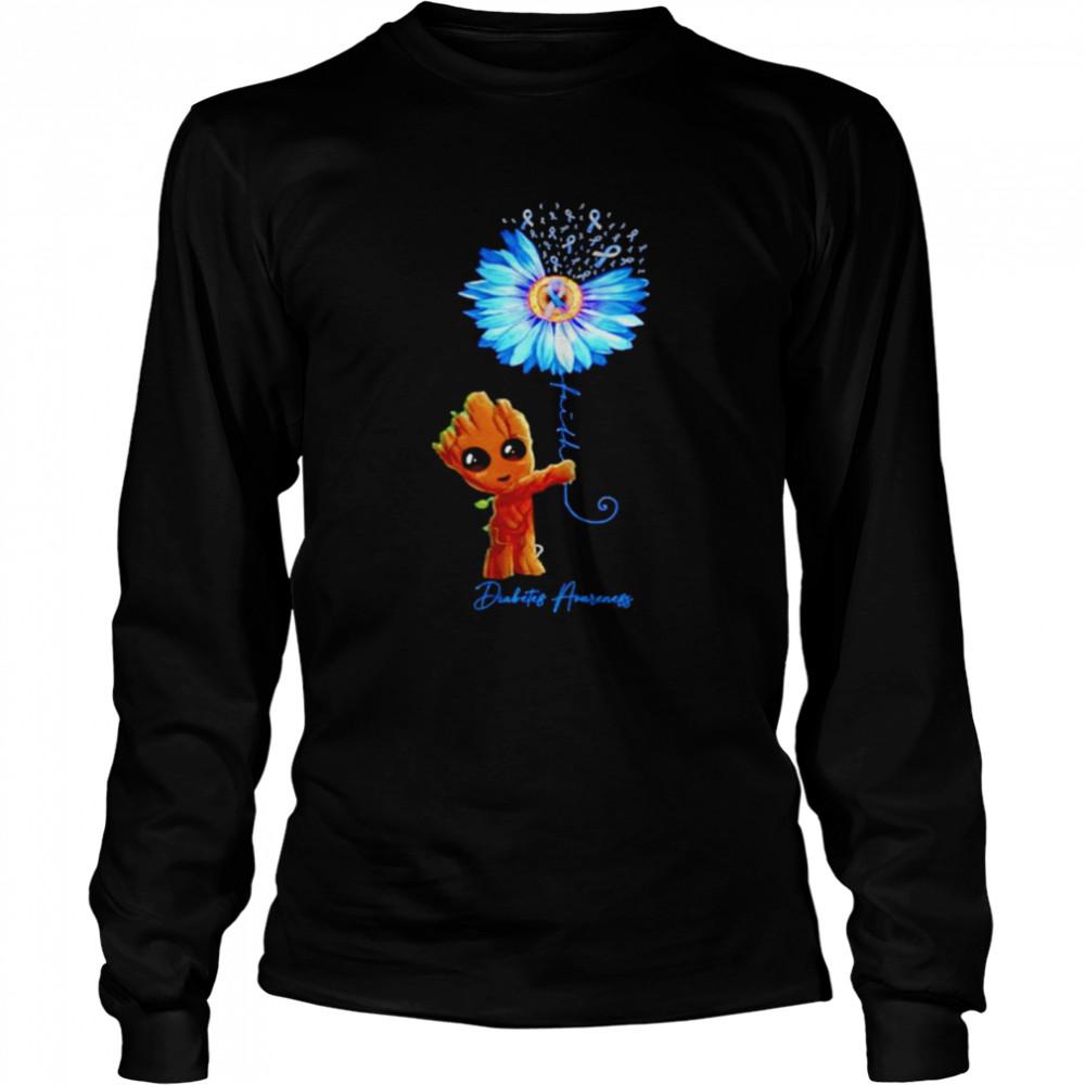 Baby Groot Sunflower faith diabetes awareness shirt Long Sleeved T-shirt