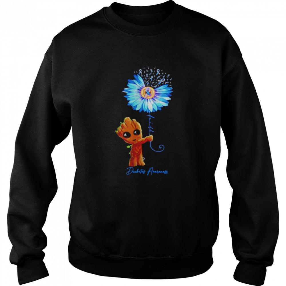 Baby Groot Sunflower faith diabetes awareness shirt Unisex Sweatshirt