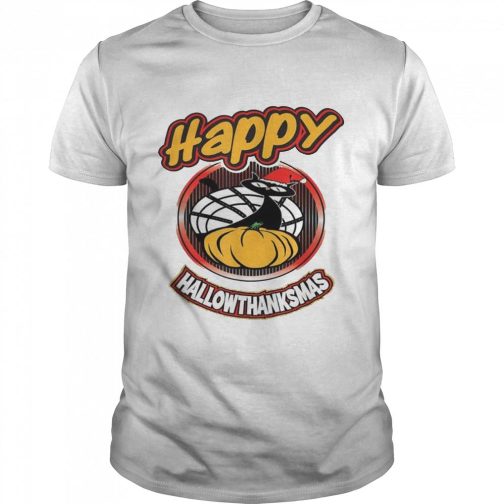 Happy Hallothanksmas Cat In Santa Hat Holiday Family shirt